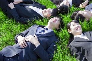 芝に寝転がる新社会人の素材 [FYI00024565]