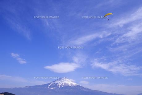 パラグライダーと青空と富士山の写真素材 [FYI00024626]