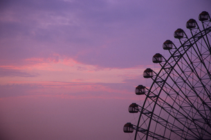 観覧車と茜雲、Ferris wheel and Rosy-pinkの素材 [FYI00024657]