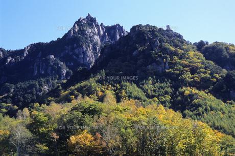 瑞牆山の紅葉と岩肌、Rui 牆山 of autumn leaves and rocks,.の素材 [FYI00024723]