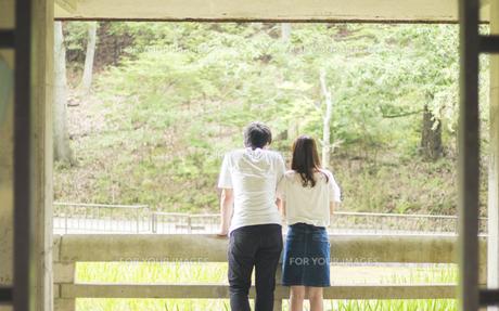 身を寄せ合い風景を眺めるカップル(後ろ姿)の素材 [FYI00025009]