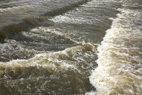 大雨の後の京都桂川の流れの素材 [FYI00025318]