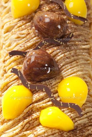 マロンロールケーキの写真素材 [FYI00025576]