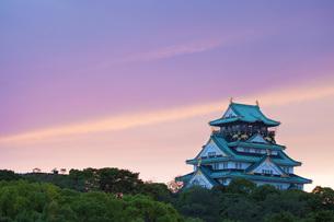 大阪城の夕景の素材 [FYI00025698]