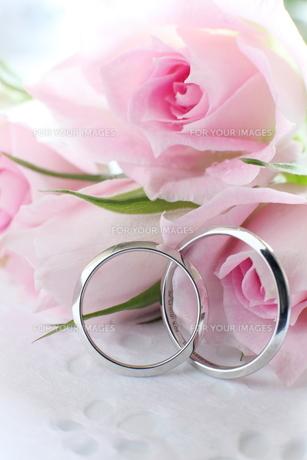 ウエディングリングと薔薇の素材 [FYI00027028]