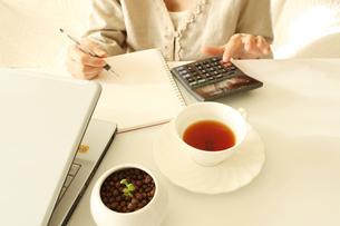家計を計算中の主婦の写真素材 [FYI00027221]