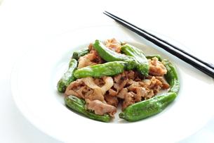 獅子唐と豚肉の炒め物の写真素材 [FYI00027535]