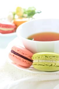 マカロンと紅茶の写真素材 [FYI00027673]