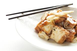 長ネギと揚げ豆腐の中華炒めの写真素材 [FYI00029170]