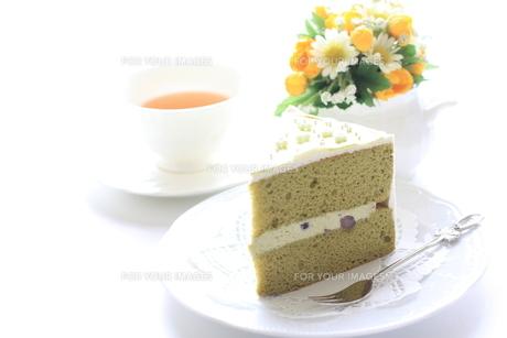 抹茶ケーキのティータイムの写真素材 [FYI00029707]