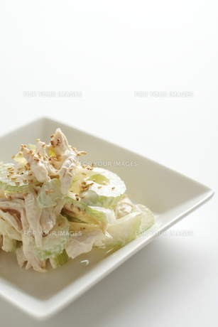 セロリと鶏肉の和風サラダの写真素材 [FYI00029851]