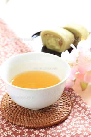 日本茶とケーキの素材 [FYI00031151]