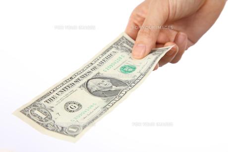 1ドル紙幣を出すの素材 [FYI00033326]
