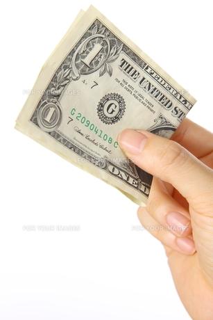 1ドル紙幣を持つの素材 [FYI00033337]