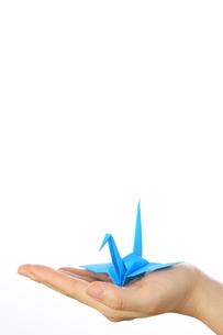 折鶴を持つの写真素材 [FYI00033354]