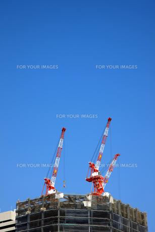 青空にそびえる建設用クレーンの写真素材 [FYI00034835]