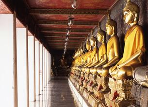 ワット・スタットの回廊に並ぶ仏像の写真素材 [FYI00035031]