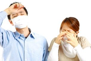 花粉症に苦しむカップルの写真素材 [FYI00036177]