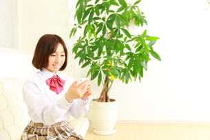 スマートフォンを使う女子高生の写真素材 [FYI00036242]
