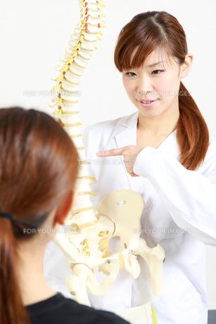 脊椎について説明する整体師の写真素材 [FYI00036500]