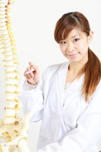 脊椎について説明する整体師の写真素材 [FYI00036501]
