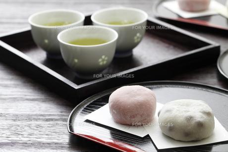 緑茶と大福の素材 [FYI00039377]