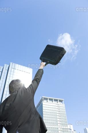 ビジネスバッグを高く上げるビジネスマンの写真素材 [FYI00040065]