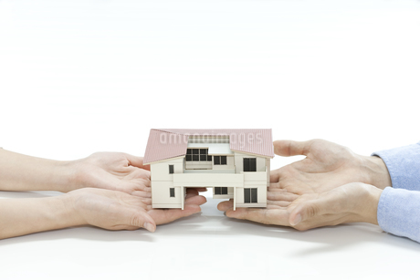 住宅模型を持つ夫婦の写真素材 [FYI00040621]