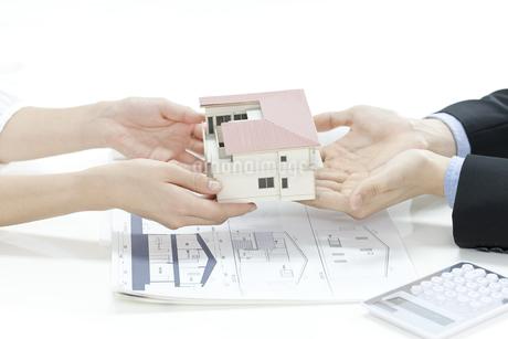 住宅模型を手渡す営業マンの写真素材 [FYI00040642]