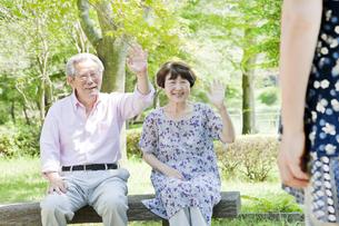 ベンチに座る老夫婦の写真素材 [FYI00041101]