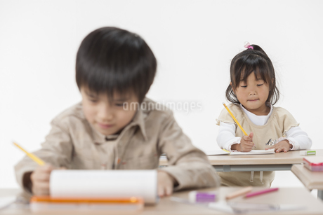 勉強をする子供たちの写真素材 [FYI00041950]