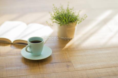コーヒーと本と観葉植物の写真素材 [FYI00042556]