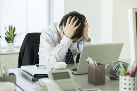 頭を抱えながら嘆くビジネスマンの写真素材 [FYI00042851]