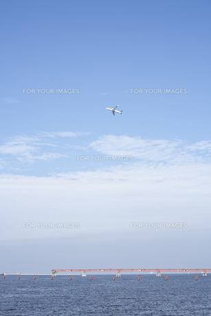 青空の中を飛ぶ飛行機の素材 [FYI00042935]