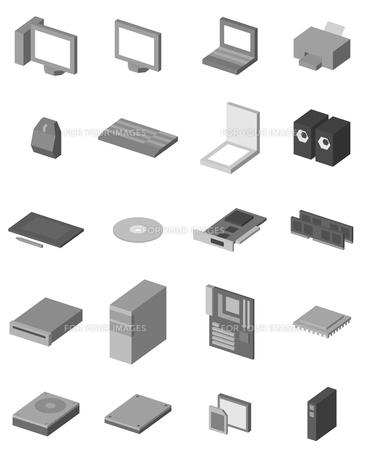 パソコン・周辺機器アイコンセットの写真素材 [FYI00043546]