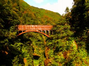 立山 黒部 峡谷 トロッコ列車 土木 橋の写真素材 [FYI00044104]
