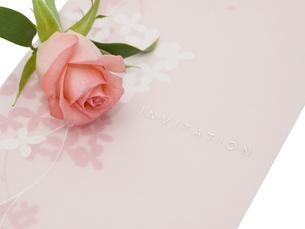 バラと招待状の写真素材 [FYI00044510]