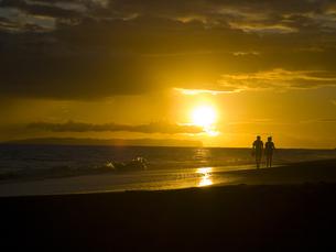 カウアイ島のビーチを歩くカップルの素材 [FYI00044540]