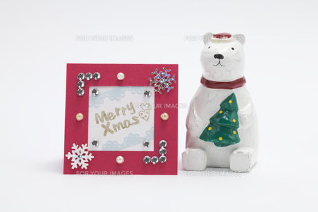 クリスマスカードとシロクマの人形の素材 [FYI00044619]