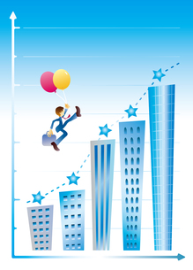 ビジネスマンとビルの階段の素材 [FYI00044658]
