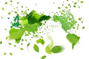 葉っぱと世界地図の写真素材 [FYI00044881]