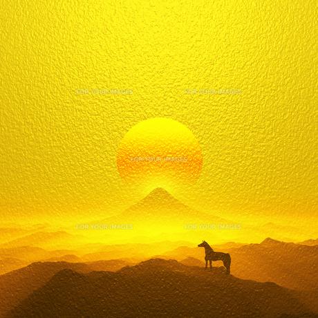 富士山と馬の写真素材 [FYI00047920]
