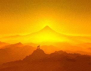 富士山と羊の写真素材 [FYI00048088]
