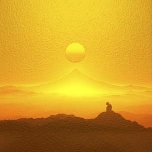 富士山と猿の写真素材 [FYI00048134]