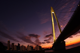 橋と夕焼けの素材 [FYI00049231]