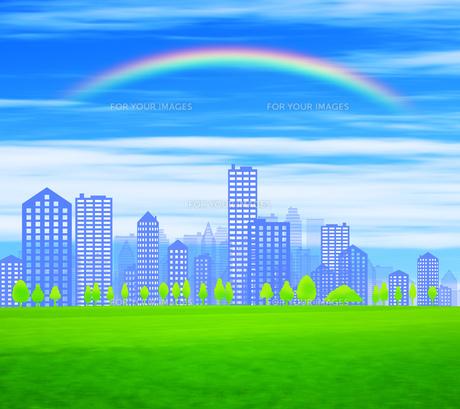 街並みと虹の写真素材 [FYI00050306]