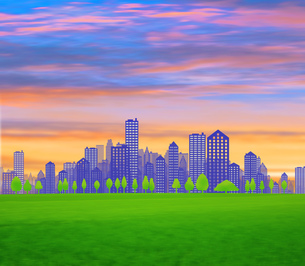 ビル街と緑地の写真素材 [FYI00050319]