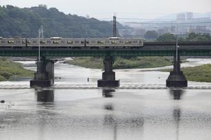 多摩川を渡る南武線の写真素材 [FYI00052168]