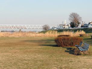 河川敷のベンチと京王線の写真素材 [FYI00052717]