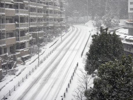 雪の団地と道路の写真素材 [FYI00052743]